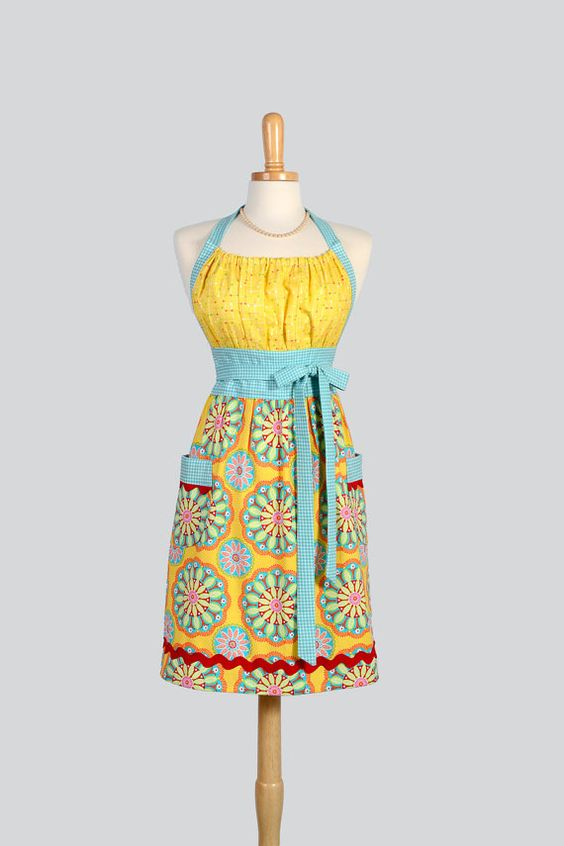 Cute Kitsch Retro Apron - Handmade Full Womens Chef Apron in Michael Miller Gypsy Bandana Yellow and Teal Summer Apron