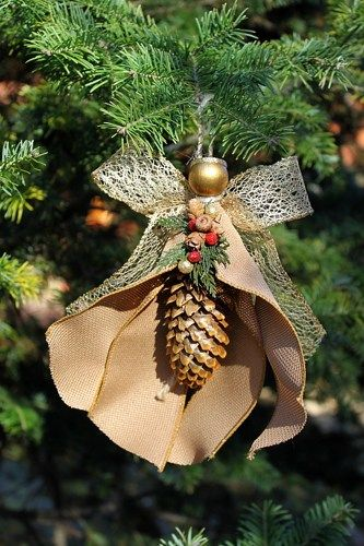 Handmade pine cone angel ornament with burlap and gold for How to make pine cone christmas tree ornaments