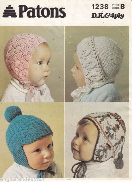 Knitting Patterns For Baby Girl Bonnets : Patons 1238 DK & 4Ply Baby/Toddler Helmets & Bonnets - Vintage Knitti...