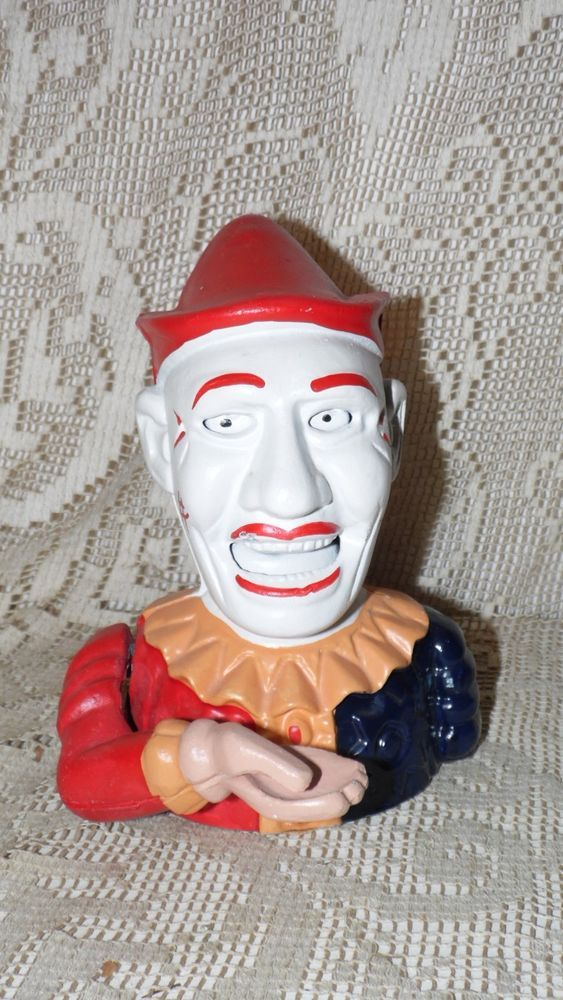 Vintage Cast Iron Mechanical Clown Bank