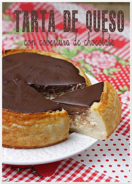 Tarta de queso con cobertura de chocolate el blog sin - Postres con queso de untar ...