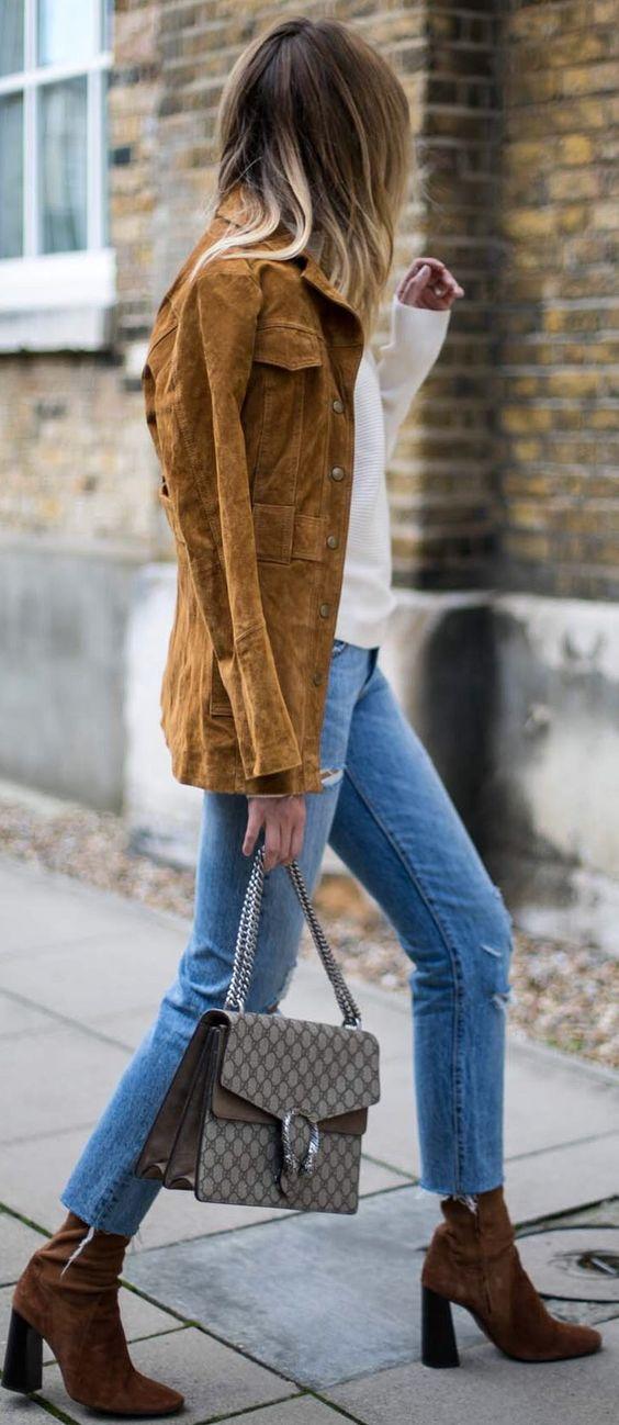 #fall #fashionistas #outfits | Camel Suede Jacket + Basics