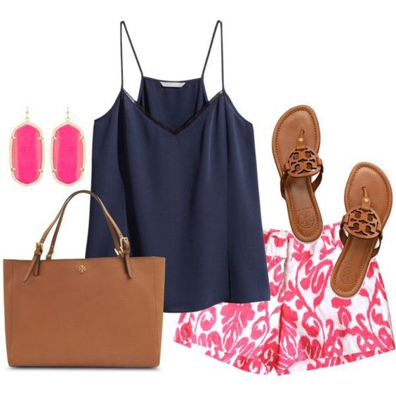 preppy outfit featuring Tory Burch & Kendra Scott: