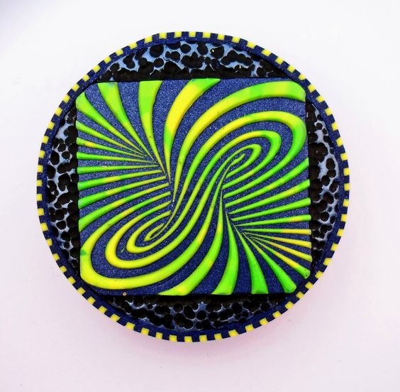"""Polymer Clay (3D surface effect using """"Illusions"""" Stamp, www.lisapavelka.com)"""