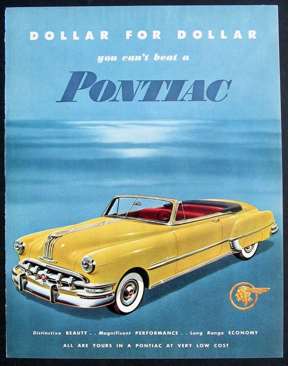 Vintage ad print - 1950 Yellow Pontiac Silver Streak Convertible.