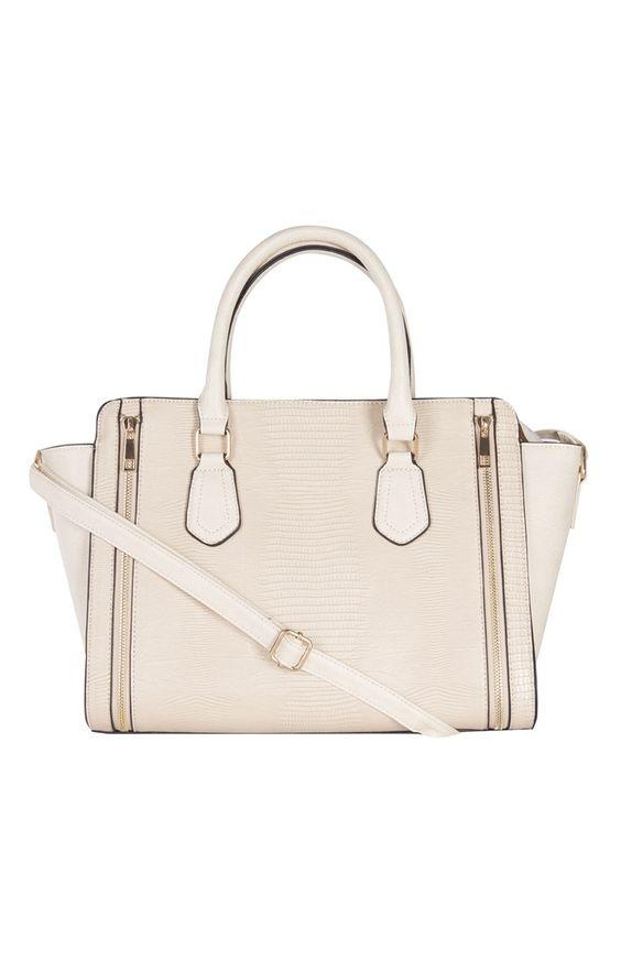 Cream PU Mock Reptile Zip Tote Bag