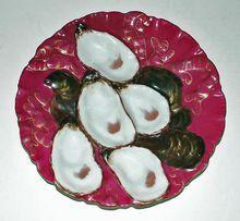 c. 1880 Haviland Magenta Turkey Oyster Plate