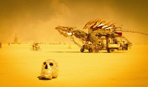 People spend all year building land #vehicles that cruise around the playa day and night. This one was awesome with a fully articulated head that can breathe #fire at night. #skull #dragon #BurningMan. from #treyratcliff at http://www.StuckInCustoms.com - all images Creative Commons Noncommercial