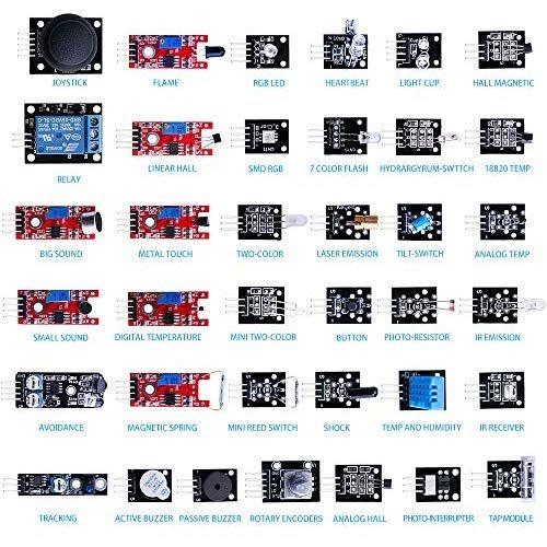 Elegoo 37 En 1 Pack De Kit De Módulos Sensores Con Tutorial