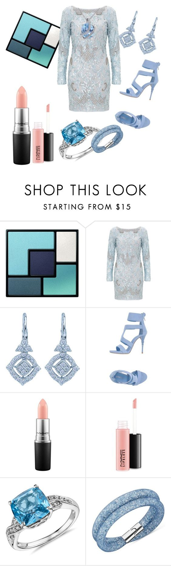 """""""Frost Blue"""" by lindadrotner ❤ liked on Polyvore featuring Yves Saint Laurent, Aidan Mattox, Le Silla, MAC Cosmetics, Blue Nile, Swarovski, Miadora, women's clothing, women's fashion and women"""