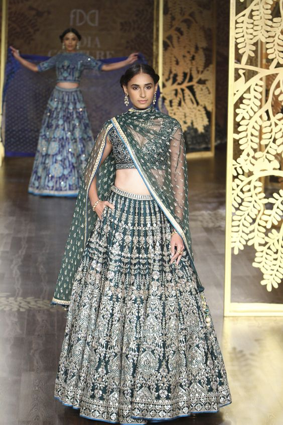 Indian Lehenga Choli Designs For Wedding Green attire by Anita Dongre