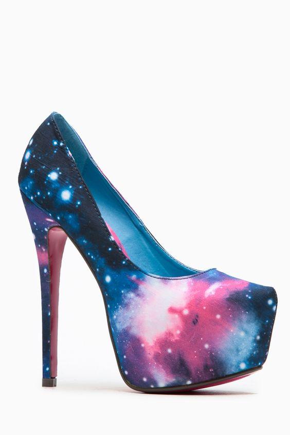 Liliana Solange Almond Toe Galaxy Print Heel @ Cicihot Heel Shoes online store sales:Stiletto Heel Shoes,High Heel Pumps,Womens High Heel Shoes,Prom Shoes,Summer Shoes,Spring Shoes,Spool Heel,Womens Dress Shoes
