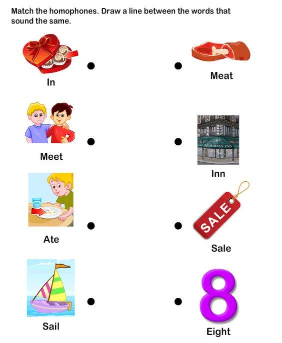 Homophone Word Worksheet4 eslefl Worksheets kindergarten – Esl Worksheets for Kindergarten