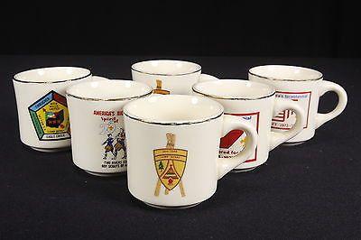 Lot of 6 Vintage Boy Scout Mugs Jamboree Bicentennial 1973 1974 1975 8 oz USA