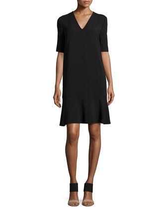 Flared-Hem V-Neck Dress, Black by Stella McCartney at Neiman Marcus.