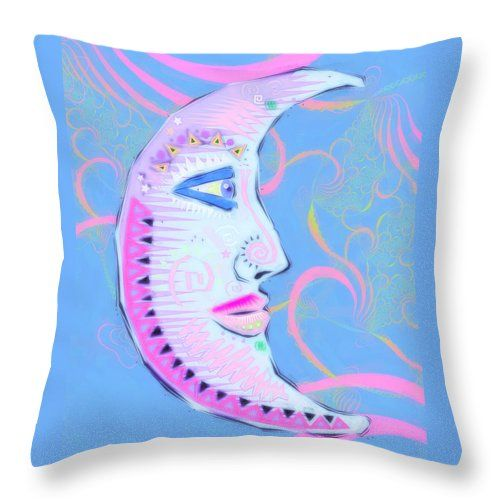 Moon Throw Pillow featuring the digital art Pastello Luna by Sharon and Renee…