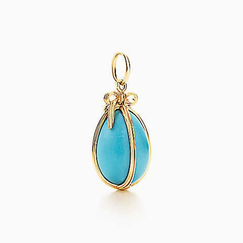 Tiffany & Co. Schlumberger Egg charm of turquoise with 18k gold, small.