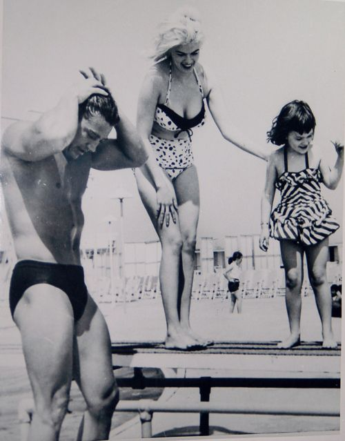 Jayne Mansfield, husband and bodybuilder Mickey Hargitay and their daughter Mariska Hargitay (SVU)