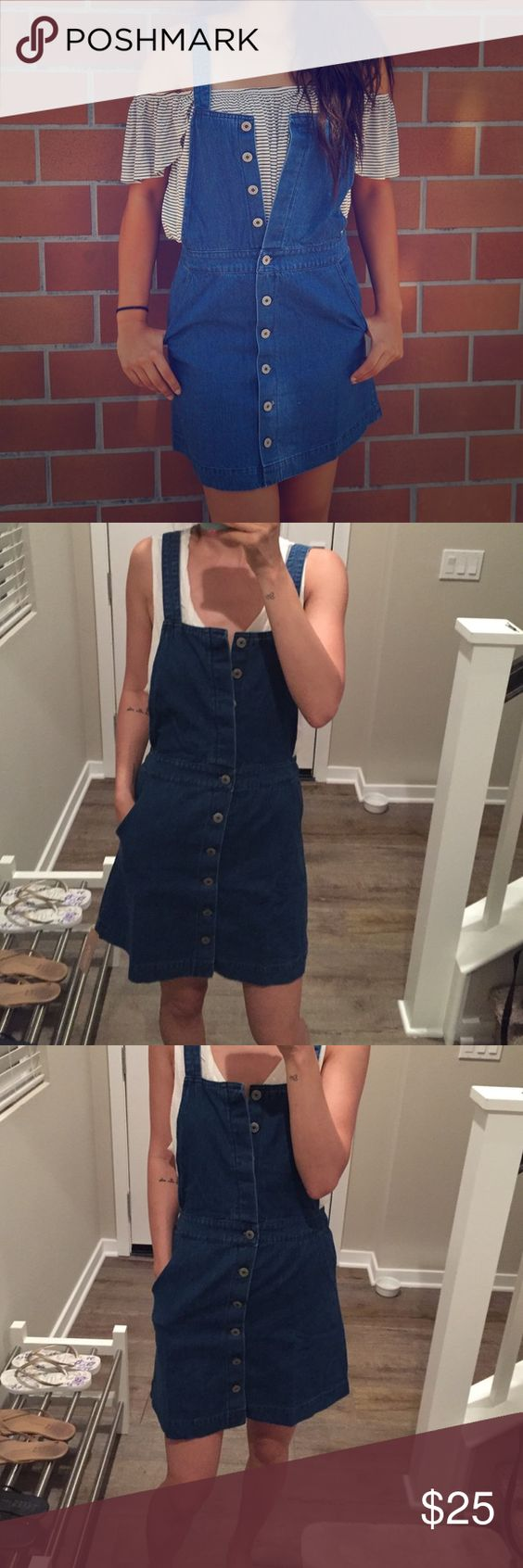Overall denim dress Brand new overall denim dress with adjustable button strap! Dresses Mini