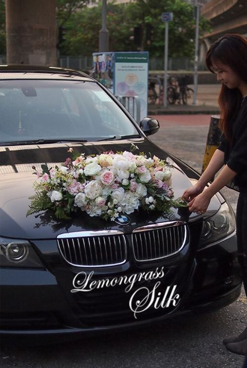 Bmw Wedding Car Decoration Ideas With White And Pink Flowers