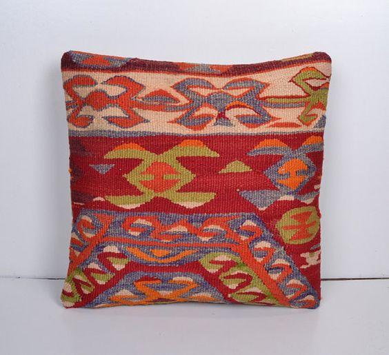 Ethnic Pillow Kilim Cushion cover Bohemian Euro by PillowsHistoric