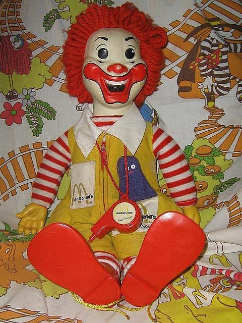 a creepy old Ronald McDonald doll