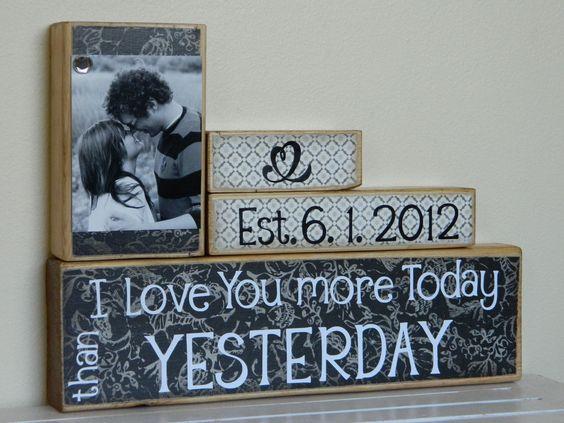 Awww!!!! - Great Wedding gift: Wood Block, Anniversary Idea, Wedding Shower, Gift Ideas, Personalized Wedding Gift, Anniversary Gift, Wooden Block, Wedding Gifts