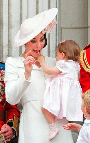 Trooping The Colour, 11 June 2016 Catherine, Charlotte, George:
