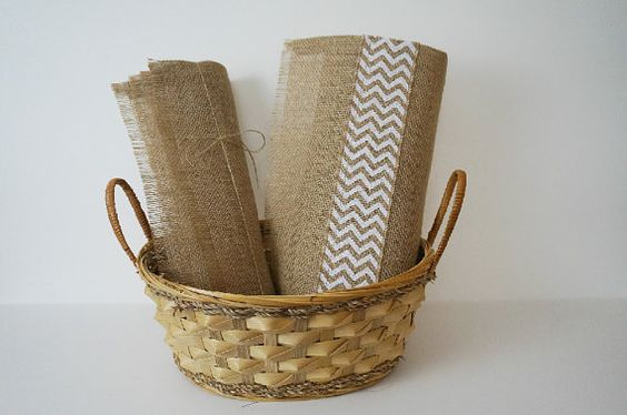 Burlap Table Runner / Placemat Gift Basket, Placemat Gift Set, White Chevron, 1 Runner and 4 Placemats, Mothers Day Gift, Birthday Gift