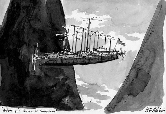 "jules verne illustrations | Jules Verne's ""Albatros"" from ""Robur, the Conqueror"" (updated):"
