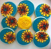 Beautiful flower cookie color palette