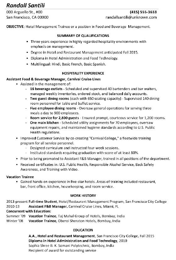 Food And Beverage Manager Resume Uncommon Resume Sample Hotel Management Trainee Of 35 Intere Hotel Management Restaurant Management Manager Resume