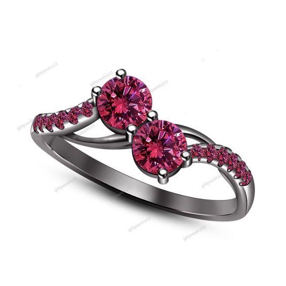 Sparkling Pink Sapphire Prong Set 14k Black Gold Plated Wedding Engagement Ring…