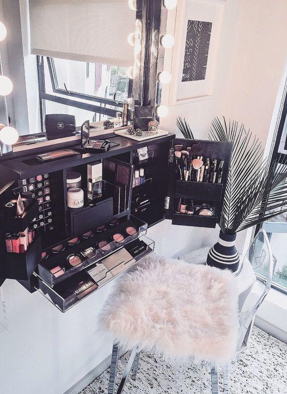 Wall Mounted Makeup Organizer Vanity By Bleachla On Etsy Salon Pinterest