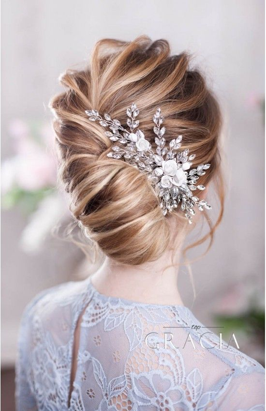 Zenobia Bridal And Wedding Hair Comb With Rose Flowers And Crystals By Topgracia Floral Hair Combs Hair Comb Wedding Wedding Hair Flowers