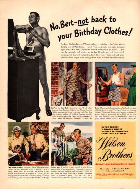 1943 Wilson Brothers Men's fashion print ad by catchingcanaries