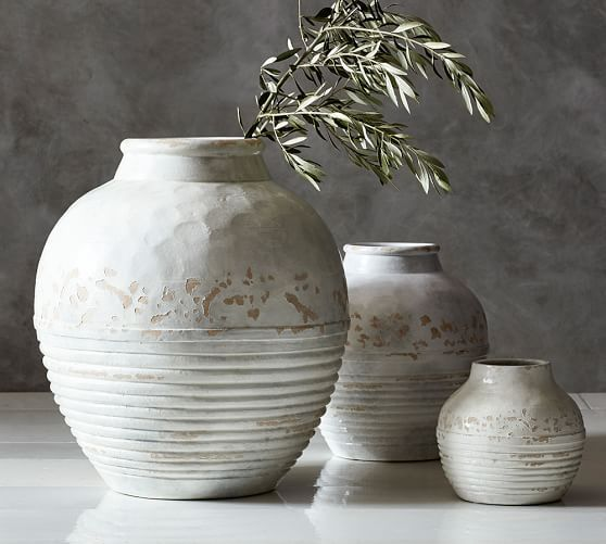 Similar Vases to the Vases on living room console table. Langdon Vases | Pottery Barn #hgtv #fixerupper #joannagaines #chipgaines www.alissawalsh.com