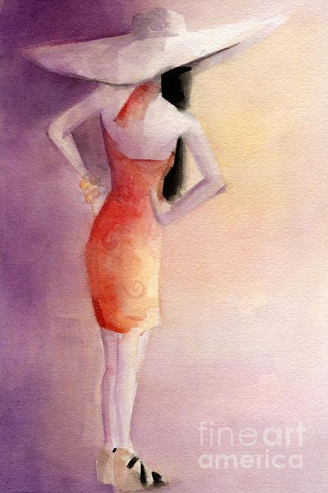 White Hat and Orange Sundress Fashion Illustration Art Print - Beverly Brown Prints
