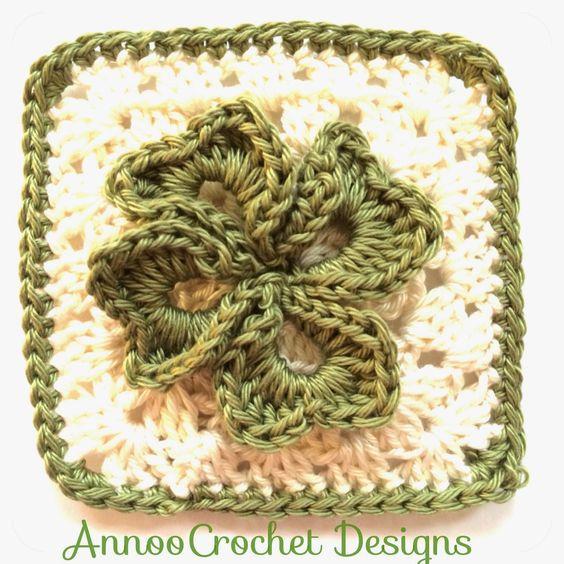 Irish Clover Granny Free Pattern - Annoos Crochet World   Crafts ...