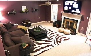 dark basement becomes a cozy family room, basement ideas, fireplaces mantels…