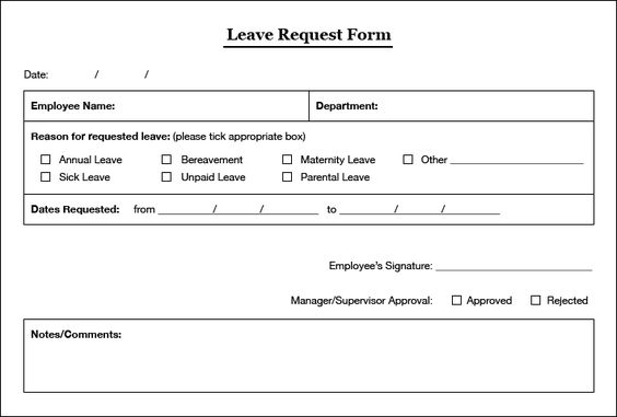 Leave of Absence Form leave of absence form Pinterest - holiday leave form template