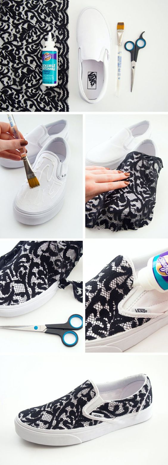 DIY Lace Slip-on Vans Sneakers. i think I would have to use a fabric knife, not scissors. I am horrible at cutting neatly with scissors.:
