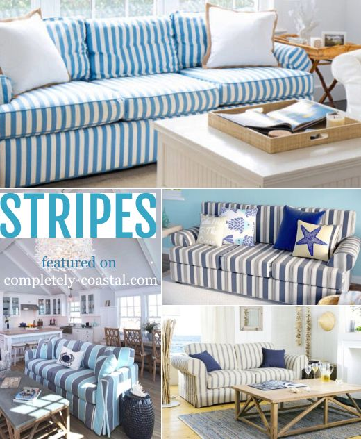 Striped Sofa Ideas For A Coastal Nautical Beach Style Living Room Design Beach Style Living Room Striped Sofa Furniture