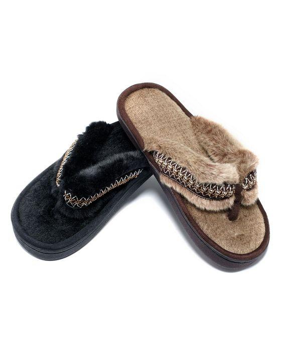 Isotoner Slippers, Woodlands Faux Fur Flip Flops ...