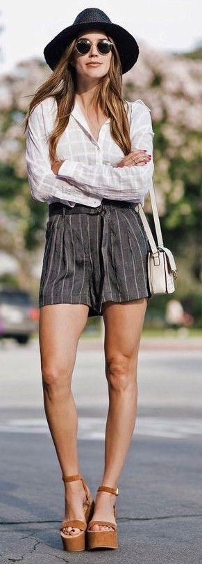 White Check Shirt + Striped Shorts
