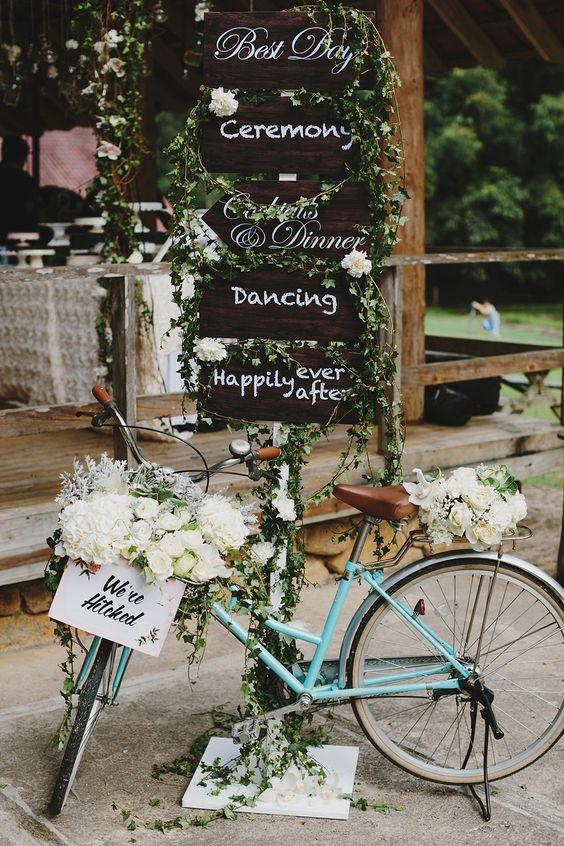 Vintage bicycle prop and wedding signs // Rustic Luxe Wedding at Enderong Resort, Malaysia: Jason + Kim