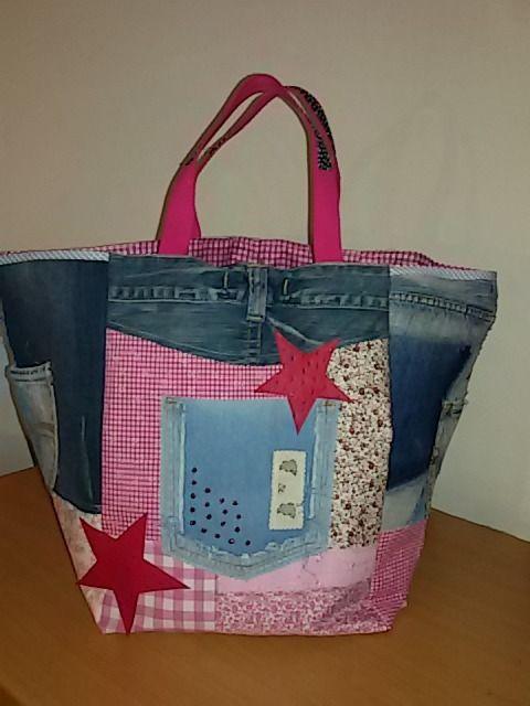 35 grand sac cabas jean et camaieu rose pinterest sac main roses et jeans. Black Bedroom Furniture Sets. Home Design Ideas