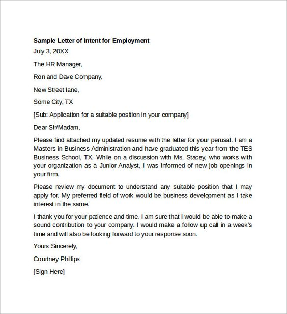 Letter Of Intent For Employment Template Resignation Letter Samples