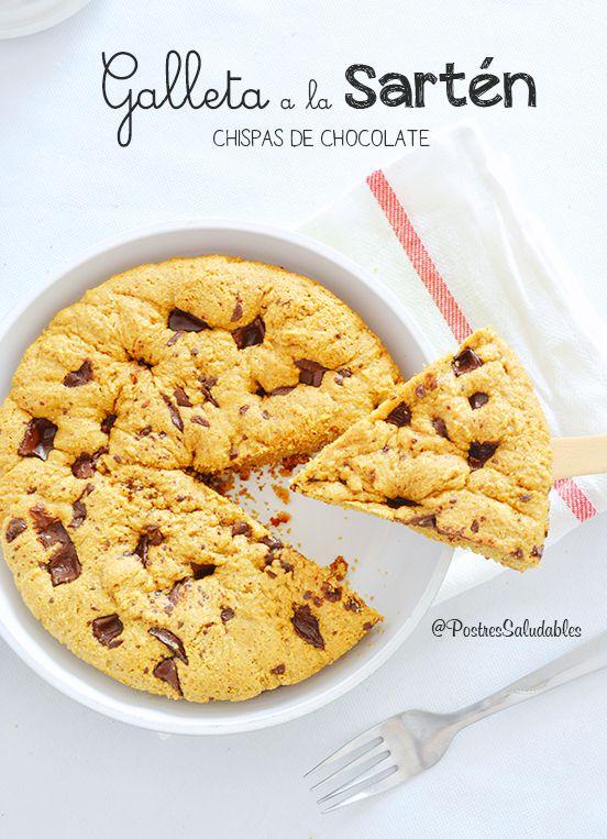 Postres Saludables | Galleta de chispas de chocolate a la sartén saludable | http://www.postressaludables.com
