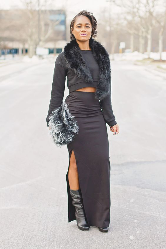 "alt=""slouch booties, mongolian bag, mac snob lipstick, crop sweatshirt, black maxi skirt, faux fur stole, the daileigh, fashion photos"""